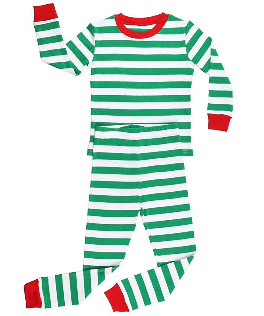 Elowel Boys Girls Christmas Striped 2 Piece Kids Pajamas Set 100% Cotton 6M-12Y redwhitepjs00