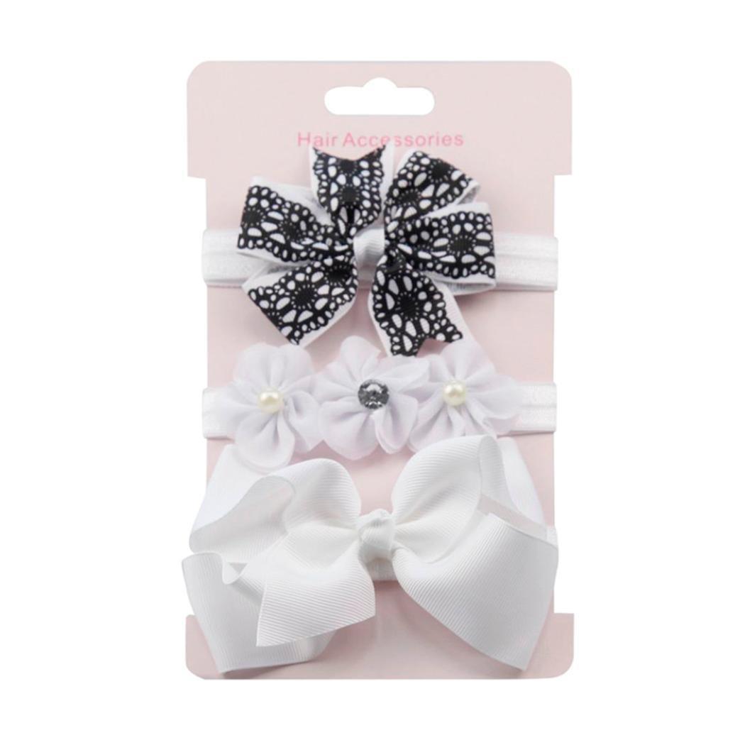 Kolylong 3Pcs Newborn Baby Girls Cute Elastic Floral Headband Sets Kids Bowknot Hairband Kit (O)