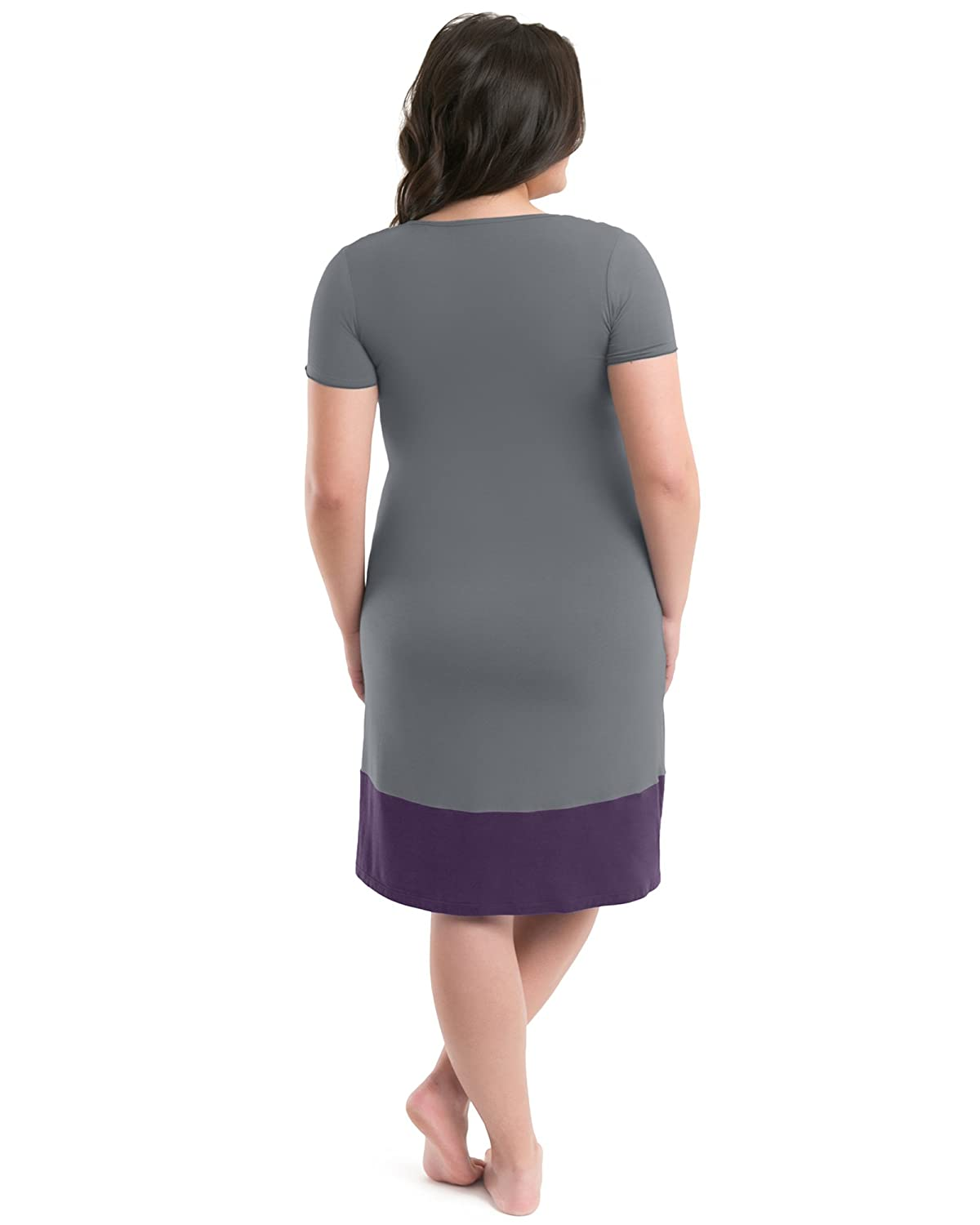 7296d0a991ac8 Kindred Bravely The Angelina Ultra Soft Maternity & Nursing Nightgown Dress  (Grey & Eggplant, X-Small): Amazon.ca: Clothing & Accessories