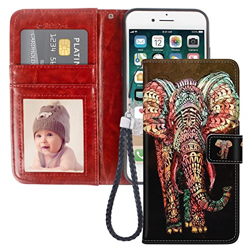 007e3426b1ce iPhone 7 Wallet Case, iPhone 8 Wallet Case, Luxury PU Leather Flip Folio  Full Protection Wallet Case [Magnetic Closure] + [Kickstand] with Credit  Card ...