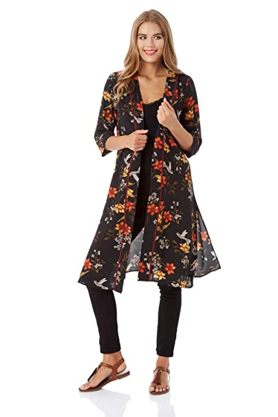 Roman Originals Women Floral Long Sleeve Kimono Jacket