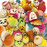 30pcs Squishies Dessert Random Kawaii Mini Medium Jumbo Scented Squishies Slow Rising Animal/Panda/ Cake/Bread/ Buns/Toast/ Donuts Keychain Phone Strap Squishy Prime Children Birthday Gift (30pcs)