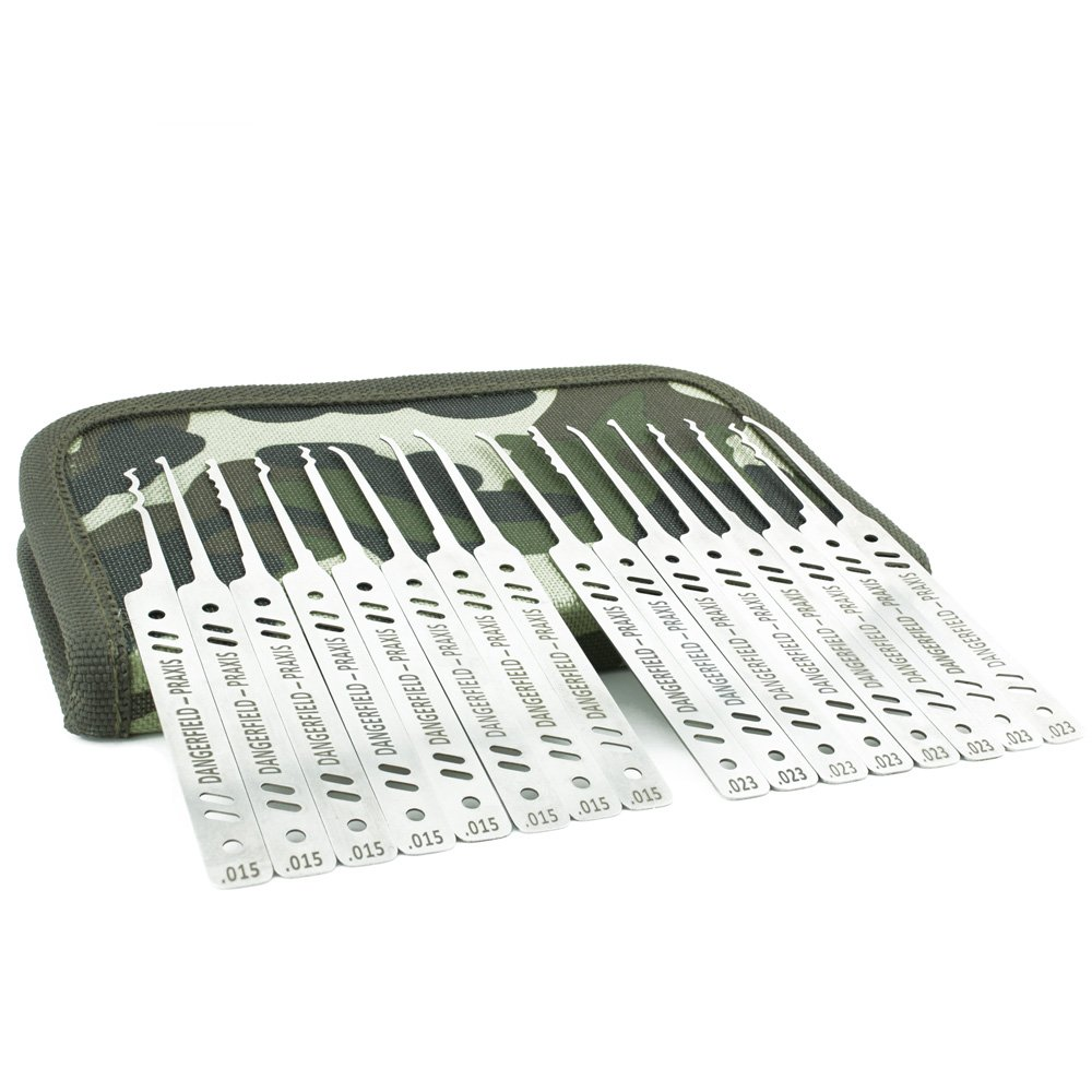 Dangerfield Praxis Lock Pick Set - Professional Dual Gauge Stainless Steel Picks with 43 Page Lock Pick Guide eBook