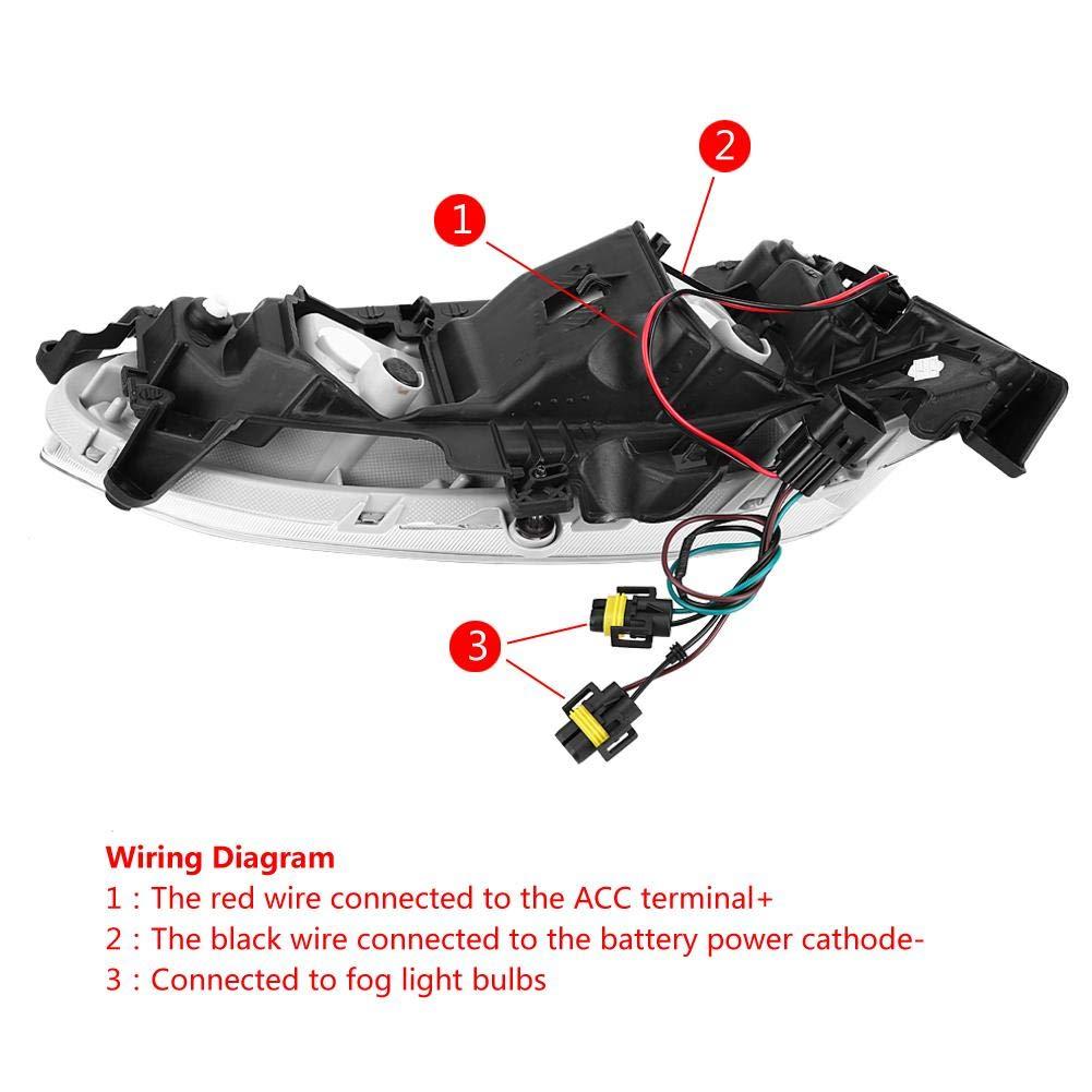 DRL IX45 2013-2015. DRL-Nebelscheinwerfer-Abdeckung f/ür Hyundai Santa Fe 1 Paar Tagfahrlicht f/ür Autos