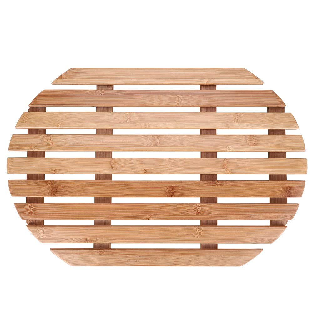 Rutschfeste Matte mit Anti-Rutsch-Duschmatte GOTOTOP Badteppich Bambus Oval