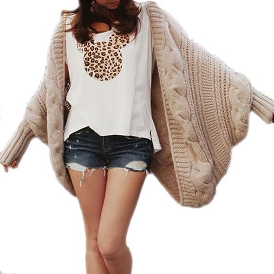 Loose Batwing Chunky Knit Cardigan Sweater Khaki at Amazon Women's ...