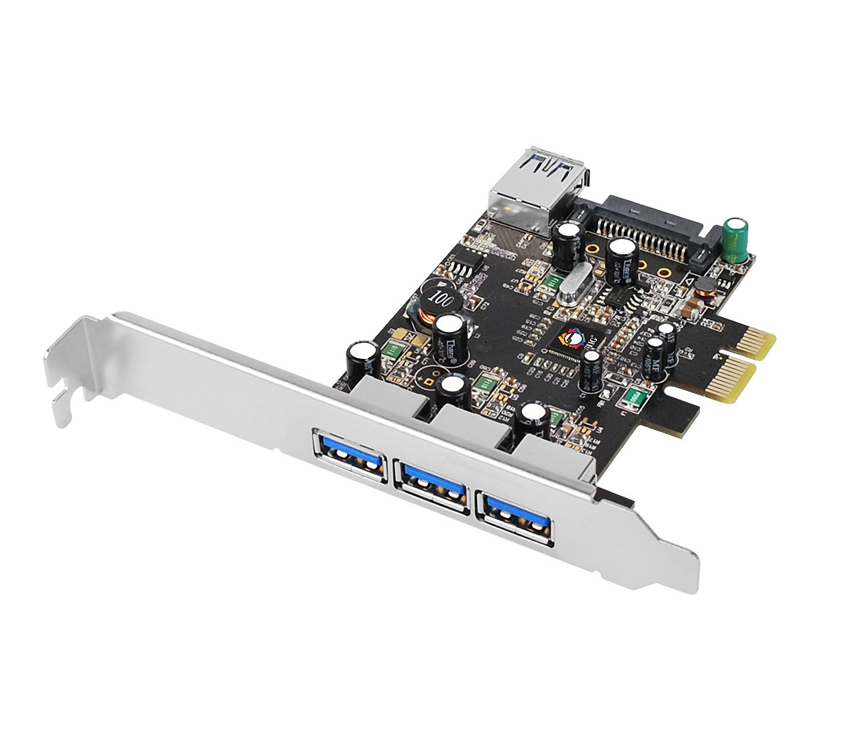 SIIG Legacy & Beyond JU-P40611-S2 Superspeed DP 4 Ports PCI-e to USB 3.0 High Performance Adapter Card With 15Pin SATA Power, 3x9-pin External and 1x9-pin Internal Connector