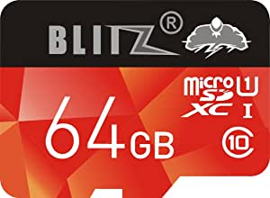 BLITZ 64GB Micro SD SDXC Class 10 Memory Card with Adapter