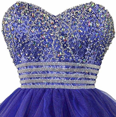 Dresstells®Vestido De Fiesta Mini Organdí Escote Corazón Con Pedrerías Azul Real