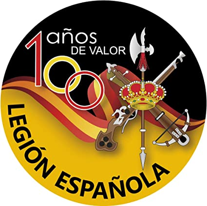 Amazon.es: Artimagen Pegatina Círculo Legión Española 100 años de Valor ø 70 mm.