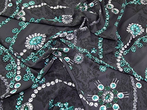 [Diamonds and Jewels Print Microfibre Crepe Dress Fabric Grey & Green - per metre] (Microfibre Dress)