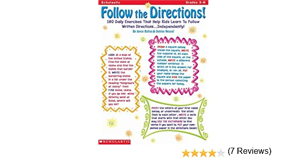 Follow the Directions (Grades 3-6): Denise Nessel, Joyce Graham ...