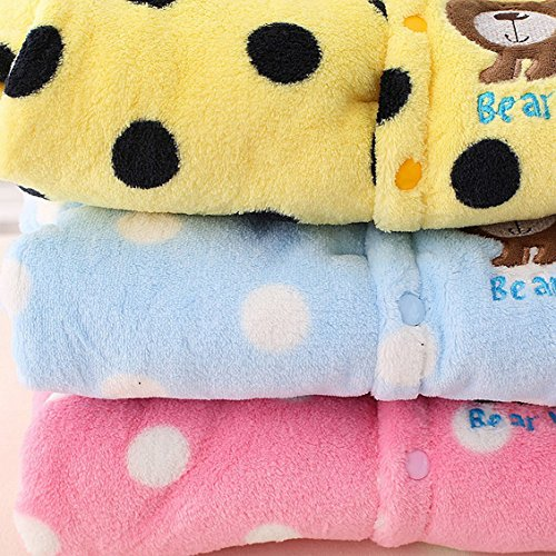Baby Boys Girls Winter Thicken Rompers Cute Spotted Bear Footies Jumpsuit Sonwsuit Beige for 6-9M