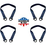 Pack of 2 Tie 4 Safe 2 Inch x 60 Inch Blue Axle Straps with Abrasive Sleeve and Delta Ring