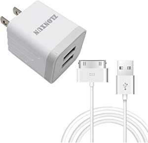 ZLONXUN Wall Charger 10W with Cable Compatible with Phone 4/4S, Pad 3/2/1, Pod Touch 1/2/3/4