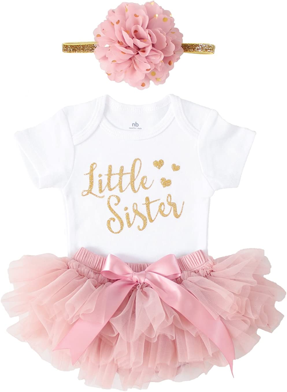 OoSweetCharlotteoO Newborn Baby Girl Coming Home Outfit Little Sister Bodysuits 3pcs