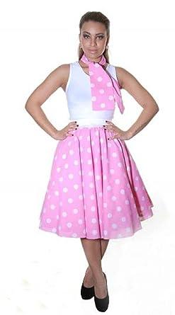 aa985919e5 Amazon.com: Crazy Chick Women's Black With White Spots Polka Dot Circular  Skirt M/L (UK 12/14 Multicoloured: Clothing