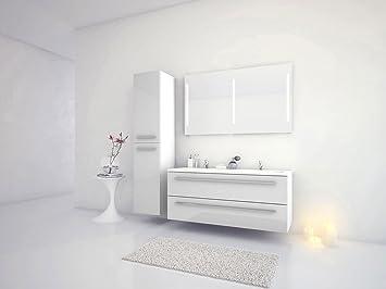 Jokey Badmöbel-Set Libato - 120 cm breit - Weiß Hochglanz - Badezimmermöbel  Doppel-Waschtisch mit Unterschrank Spiegel mit Beleuchtung und ...