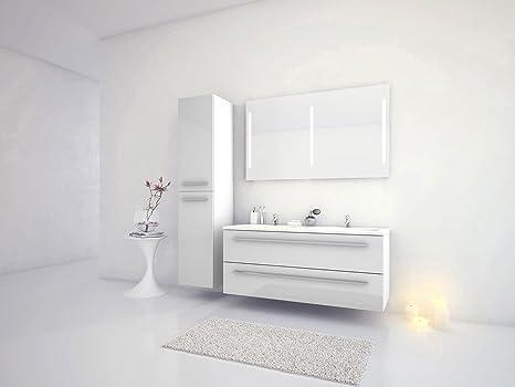 Jokey Badmöbel-Set Libato - 120 cm breit - Weiß Hochglanz - Badezimmermöbel  Doppel-Waschtisch mit Unterschrank Spiegel mit Beleuchtung und Hochschrank  ...