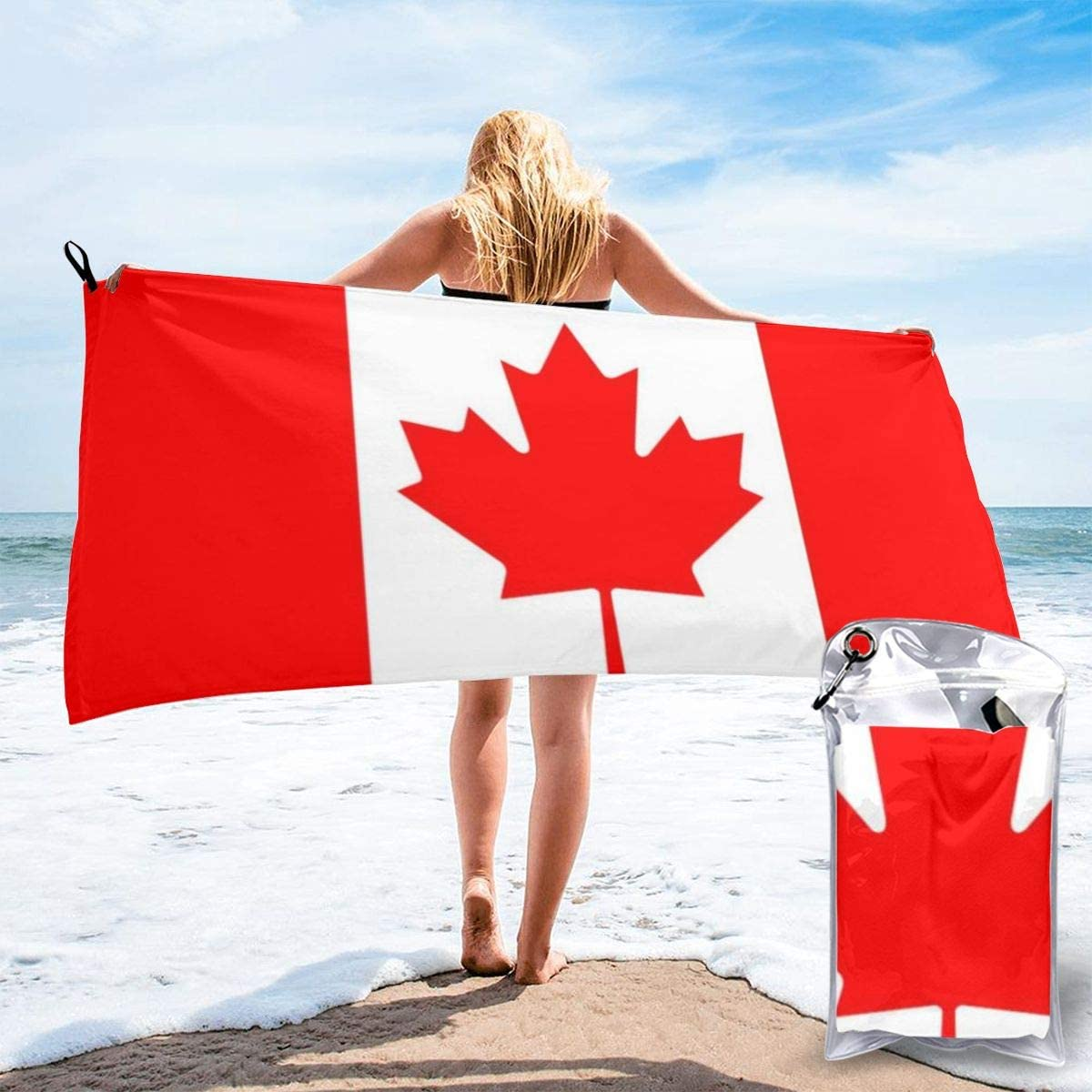 Quick Dry Beach Towel,Canada Maple Leaf Flag Travel Microfiber Bath Towel Blanket Super Absorbent Lightweight Towel for Beach,Pool,Spa,Swim,Hiking and Home Use,Oversize 31.5