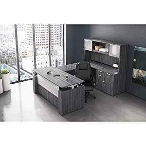 """OfficeSource Standing Desk & Hutch Set for Office or Home, Coastal Gray Laminate, Standing Desk, Credenza Shell, Open Hutch, 54"""" Acrylic Screen"""