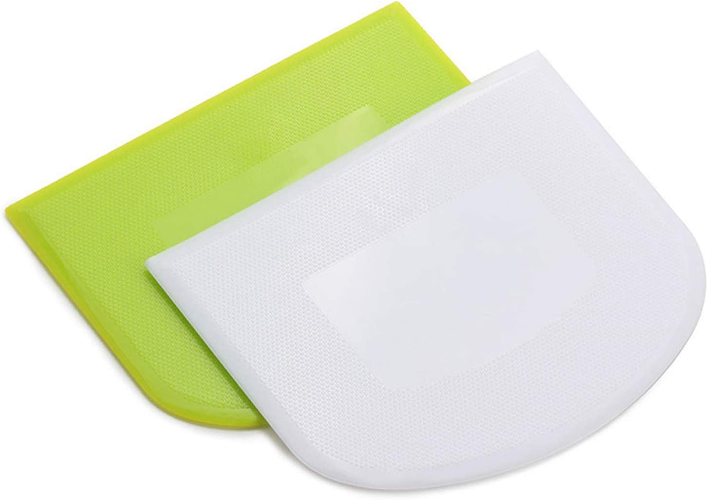 2 PCS Plastic Dough Scraper Bowl Scraper, Food-Grade Bench Scraper, Flexible Dough Cutter, Multipurpose Food Scrappers for Bread, Cake, Cream, Fondant(White+Green)