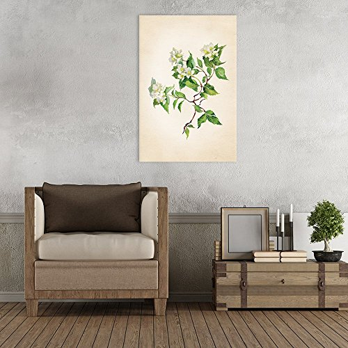Watercolor Style White Flowers with Green Leaves