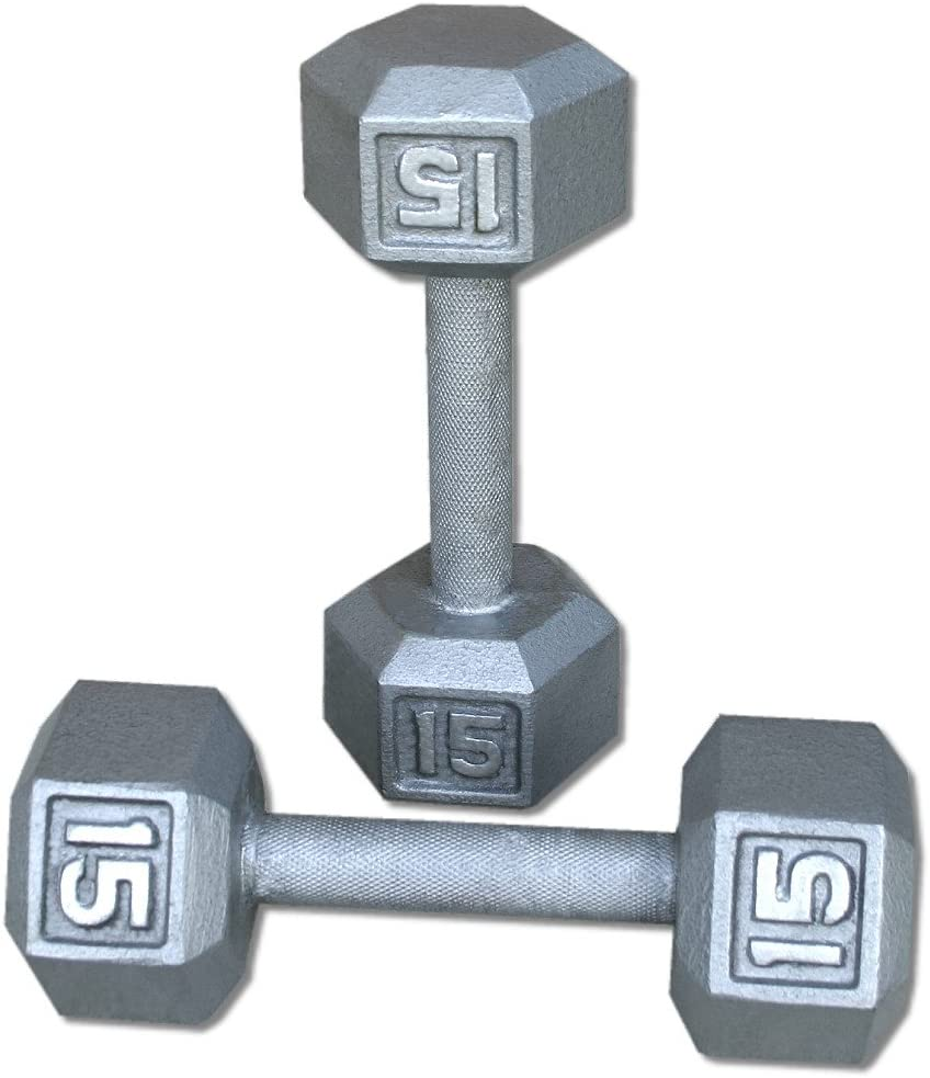 Pair 15 Lb. Cast Iron Hex Dumbbells