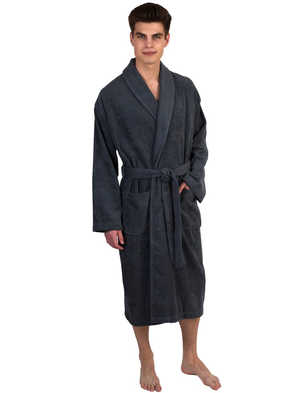 TowelSelections Men's Robe, Turkish Cotton Terry Shawl Bathrobe Large/X-Large Charcoal