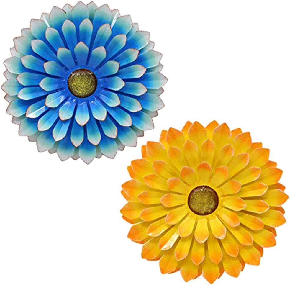 LIMEIDE Large Metal Flower Garden Wall Decor Outdoor Hanging Decoration Iron Floral Wall Art for Balcony Patio Porch Bedroom Living Room Office 14.2 inches 2pack(Blue&Yellow)