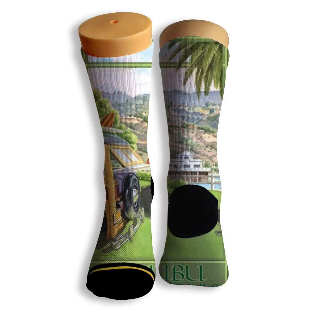 Basketball Soccer Baseball Socks by Potooy Green Malibu California 3D Print Cushion Athletic Crew Socks for Men Women