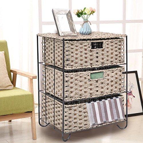 Drawer Storage Unit 3 Rattan Wicker Baskets Bin Chest Tower Rack Organizer Shelf