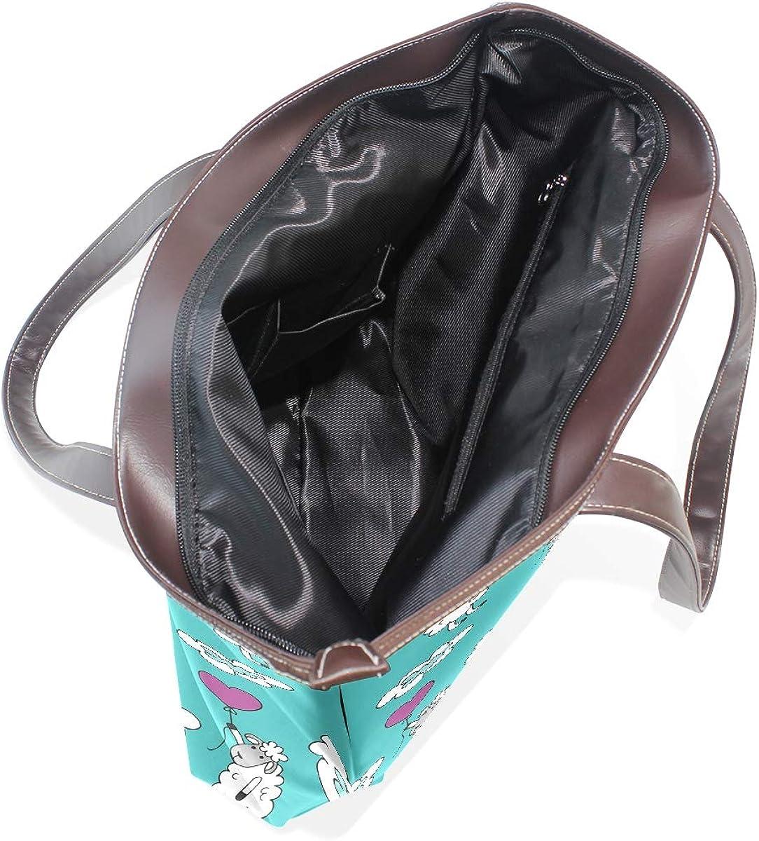 Holding A Balloon Lambs Womens Leather Handbag Shoulder Bag Satchel Handbags Leather Tote Purse Women Handle Handbags