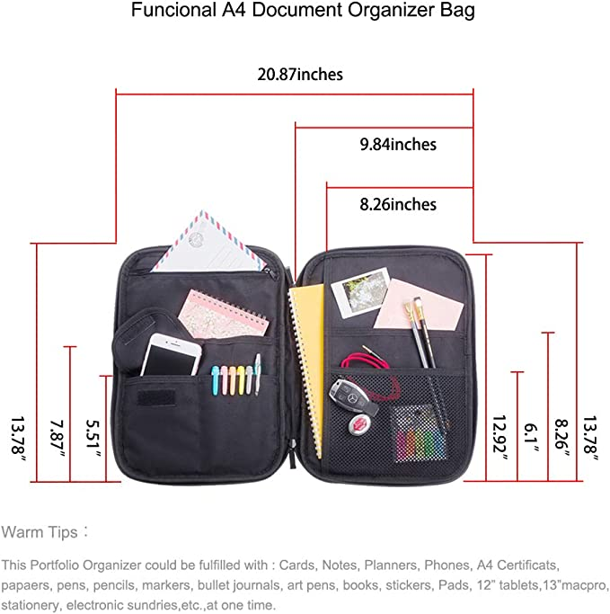 Black Electric Accessories Lazyaunti Multifunctional Document Portfolio Travel Organzier Water Repellent Laptop Pouch Small Briefcase Zipper Binder Case for Tablets,Books Electronics