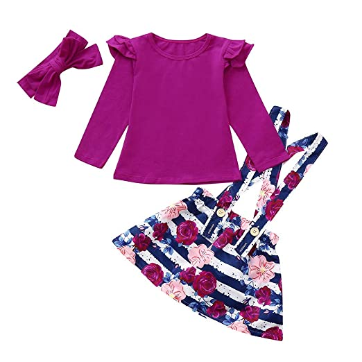 1f99f9747dd Amazon.com  3Pcs Kids Baby Girls Long Sleeves Tops Strap Ruffle Floral  Cotton Tops+Skirt +Bow Headbands Outfits Set  Clothing