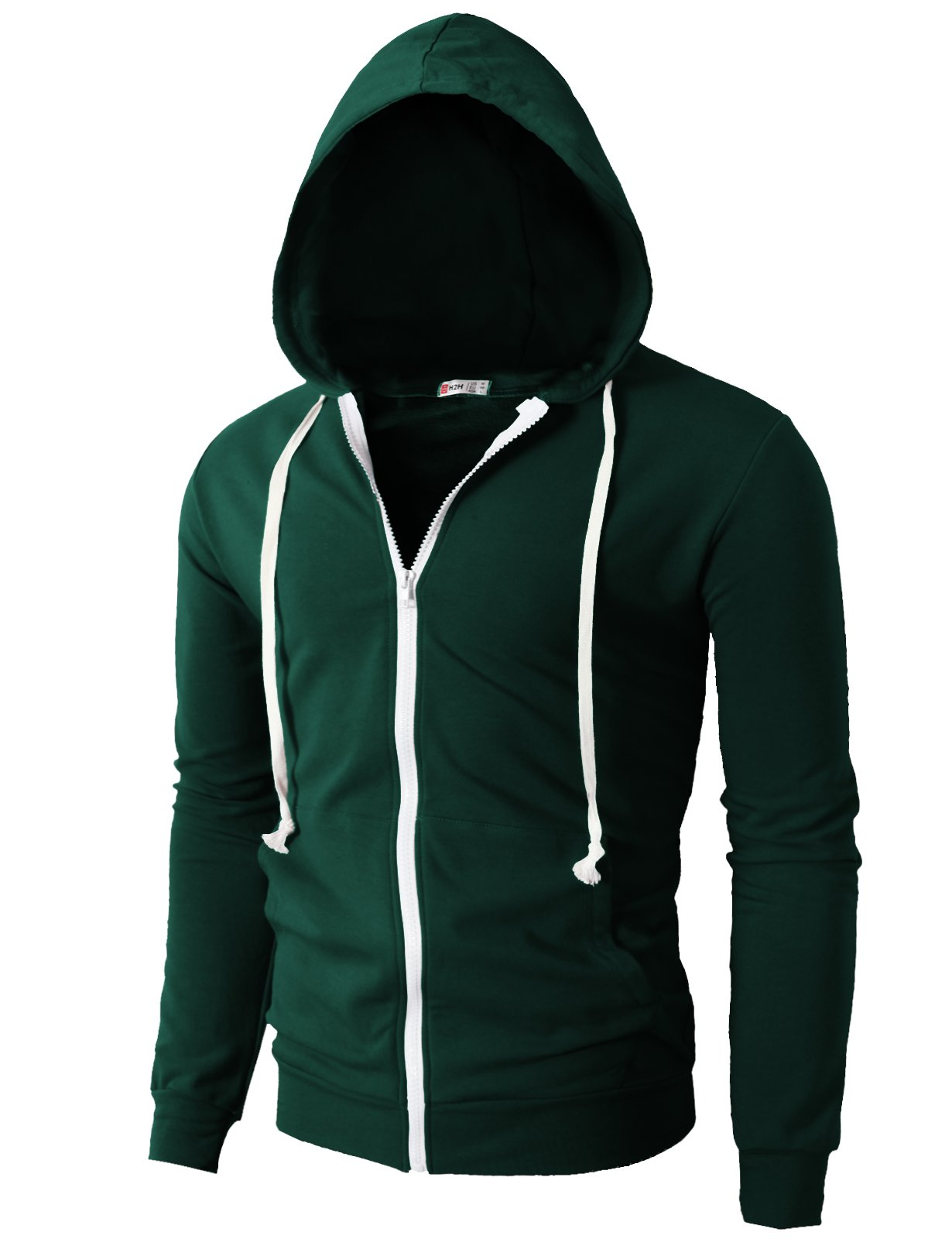 H2H Men's Casual Striped Drawstring Hooded And Zipper Closure Hoodies FORESTGREEN US XL/Asia XXXL (JNSK24) by H2H (Image #2)