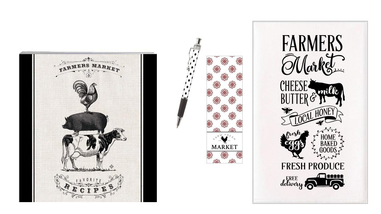 Recipe Binder Set with Recipe Cards and Dish Towel (Farmers Market) by Bailey & Browne
