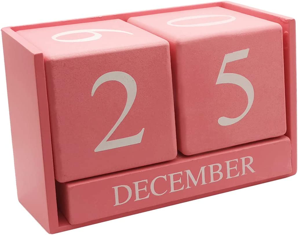 3.7 x 2.1 x 1.7 inches Small Wooden Desk Blocks Calendar - Perpetual Block Month Date Display Home Office Decoration(Pink