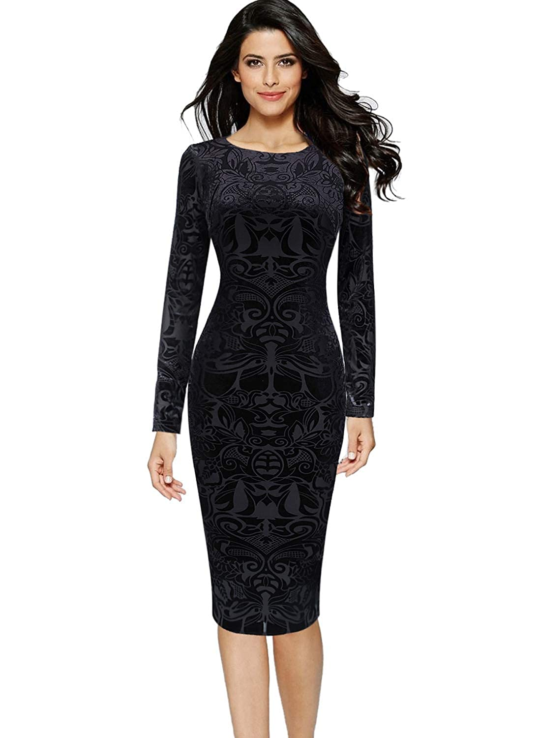 Black VFSHOW Womens Elegant Velvet Casual Cocktail Party Bodycon Sheath Dress