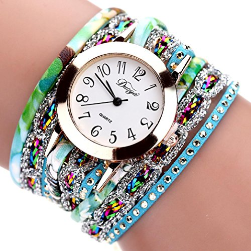 Hunputa 2016 New Watches Women Flower Popular Quartz Watch Luxury Bracelet Women Dress Lady Gift Flower Gemstone Wristwatch (Blue)