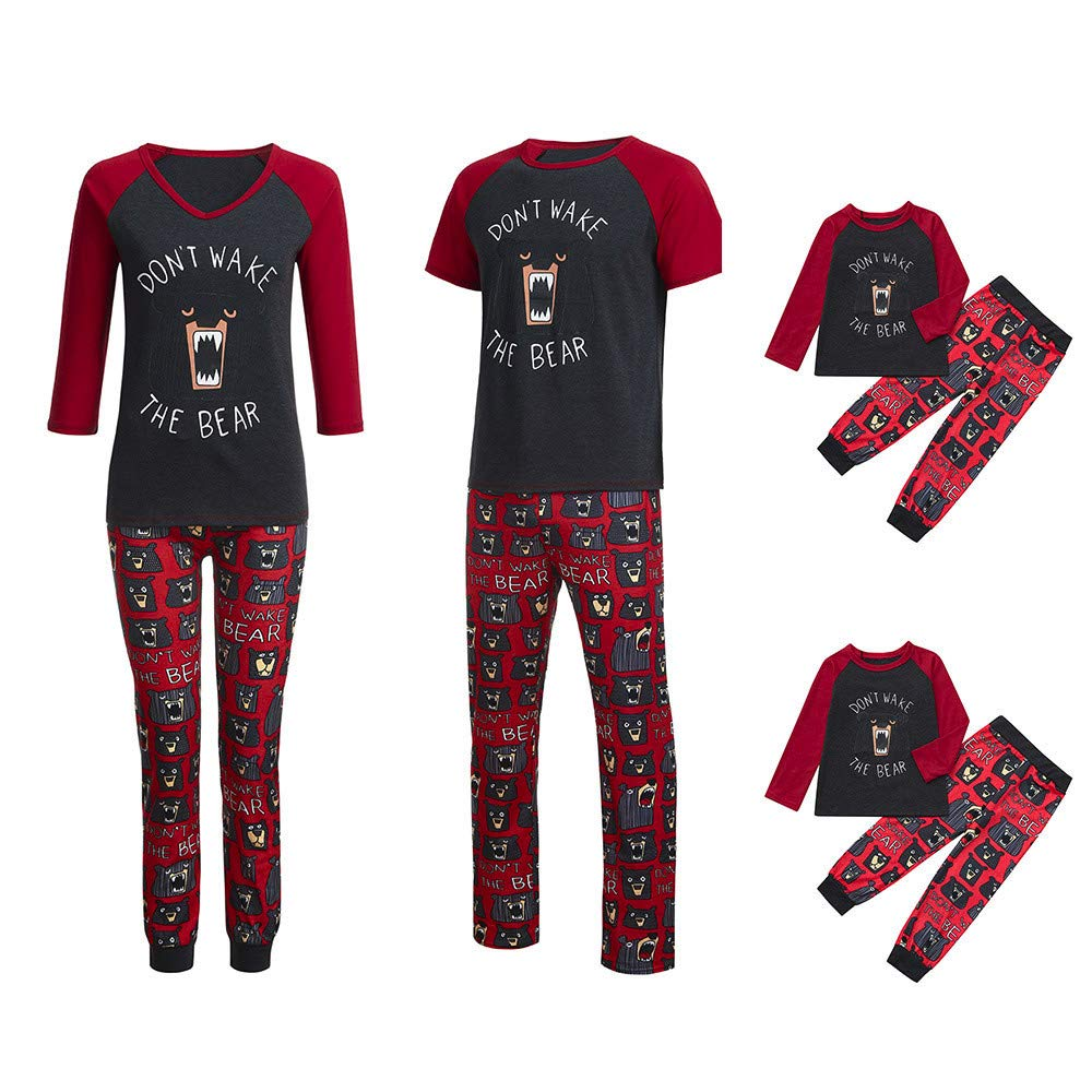 Fatchot Family Matching Clothes Christmas Xmas Sleepwear Pyjama Sets Parent-Child Suit Homewear Family Clothing Set