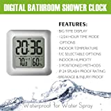 BALDR Digital Bathroom Shower Clock, Waterproof for Water Spray, Large Display, Temperature, Humidity and Moisture, Thermometer & Hygrometer, Suction Cups, Wall Clock