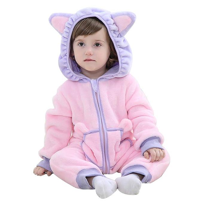 9c5b2a64c307 Amazon.com  PAUBOLI Pink Bunny Onesie Hoodie Jumpsuit Toddler Girls Flannel  Animal Onesie 0-3T  Clothing