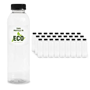 16 OZ Empty Eco Friendly Round PET Plastic Juice Bottles - Pack of 27 Reusable Clear Disposable Milk Bulk Containers with Black Tamper Evident Caps Lids