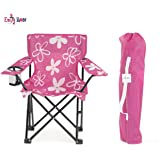 Emily Rose Kid's Pink and White Flower Folding Camp Chair with Child Safety Lock and Carry Case
