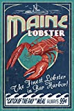 Bar Harbor, Maine - Lobster Vintage Sign (9x12 Art Print, Wall Decor Travel Poster)