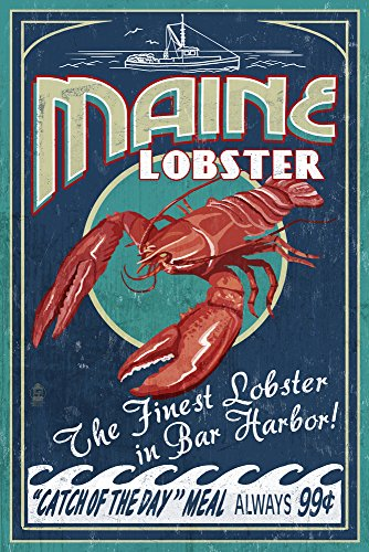 (Bar Harbor, Maine - Lobster Vintage Sign (9x12 Art Print, Wall Decor Travel Poster))
