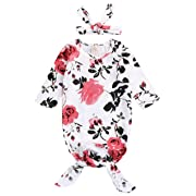 Newborn Baby Floral Sleeping Gown Swaddle Sack Coming Home Sleepwear Romper Sleeping Bags Outfit (White, 0-18 Months)