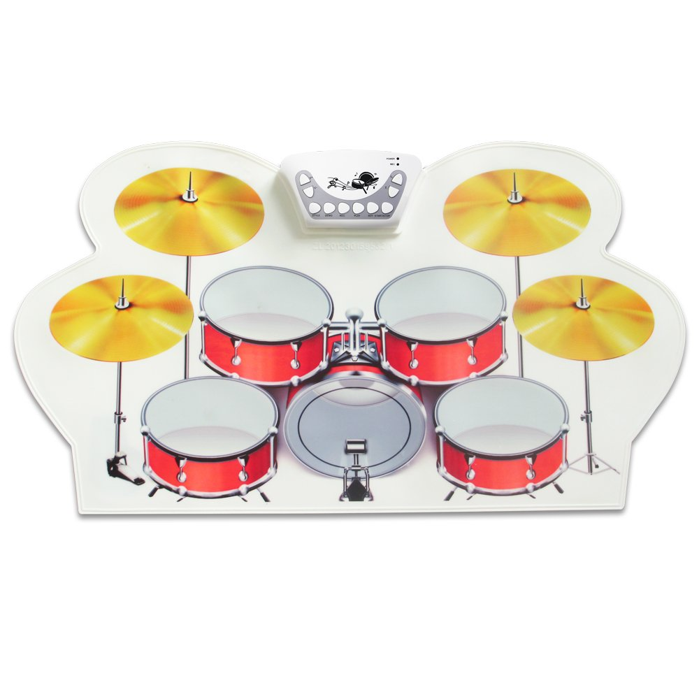 Top-Longer Portable 9 Pad Drum Roll-up Electric Drum Set Material Colorful Protable Electronic Drum Pads Set with Record Function/Roll up Kids Drum Kit for Beginner Children's Gift