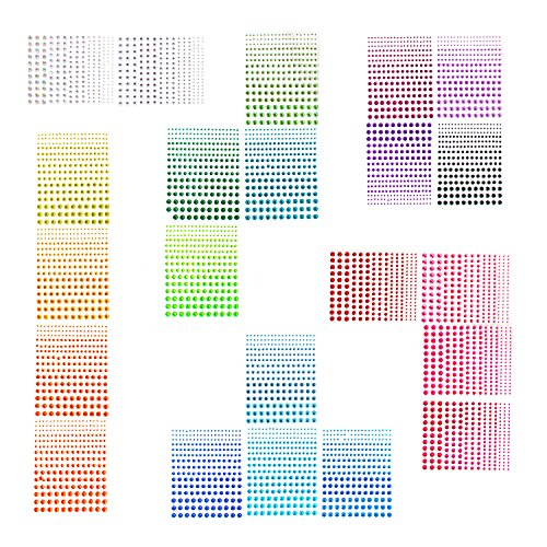 sticro 5 Sizes Self-adhesive Rhinestone Sticker 4950 Pieces 22 Colors From 2mm To 6mm Bling Craft Jewels Crystal Gem Stickers Ideal for Face, Body, Makeup, Festival, Carnival, Crafts & Embellishments ()